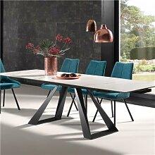 Table extensible en céramique imitation marbre