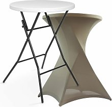 Table haute bar pliante + housse nappe gris sable