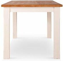 Table haute bois blanc 180x90x81cm - décoration