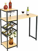 Table Haute Bois Table de Bar avec 2 Vin