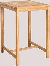 Table haute de jardin carrée en bois de teck Pira