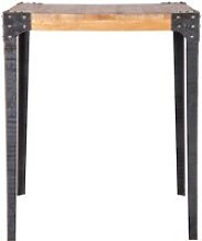 Table haute industrielle carrée en manguier