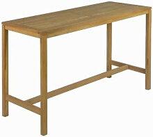 Table haute type bar d'extérieur en teck