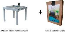 Table jardin à rallonge décors bois 4/8 places -