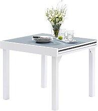 TABLE JARDIN AVEC RALLONGE BLANC ET GRIS 4 / 8