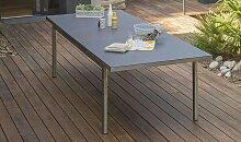 Table jardin extensible 180/240 inox et granit -