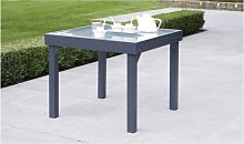 TABLE JARDIN GRIS ANTHRACITE 4/8 PLACES AVEC