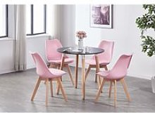 Table noire ronde + 4 chaises scandinaves roses -