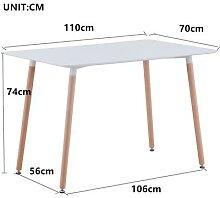 Table nordique rectangulaire en bois blanc, 110cm,