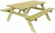 Table Pique-nique Bois Naturel Traité Gardiun