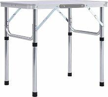 Table pliable de camping Blanc Aluminium 60x45 cm