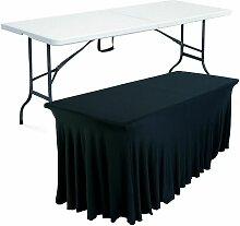 Table pliante 8 places et nappe drapée noire