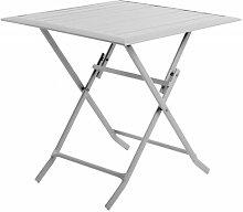 Table pliante en aluminium carrée coloris gris