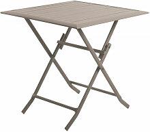 Table pliante en aluminium carrée coloris taupe