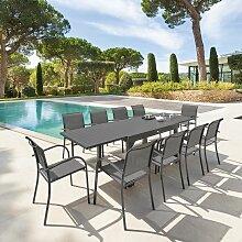 Table rectangulaire extensible Piazza 10 p. quartz