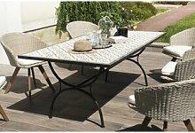 Table rectangulaire L200 plateaux carreaux pieds