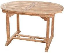 TABLE REPAS OVALE TECK BRUT EXTENSIBLE 120/180 CM