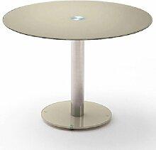 Table repas ronde design FATEN en verre taupe -