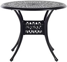 Table ronde de jardin ø 90 cm en aluminium noir