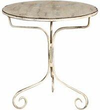 Table ronde en finition blanc antique en fer forgé