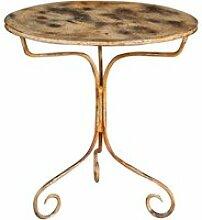 Table ronde en finition crème antique en fer