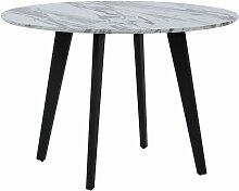 Table ronde imitation marbre blanc MOSBY