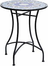 Table ronde style fer forgé bistro plateau