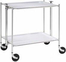 Table roulante pliable 2 étages chrome et