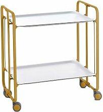 Table roulante pliante BAUHAUS 2 plateaux ocre -