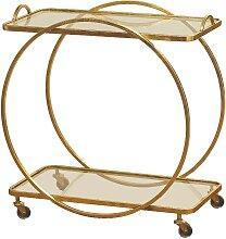 Table roulante rectangulaire décorative en métal