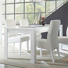 Table salle à manger design blanc laqué SANDREA