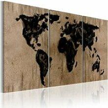 Tableau  -  Carte du monde en encre - 60x30 -