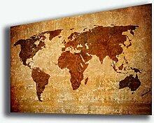 Tableau carte du monde 50 x 70 cm continent