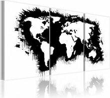 Tableau carte du monde en noir et blanc A1-N2089PWD