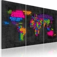 Tableau carte du monde italienne A1-N2105PWD