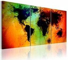 Tableau carte du monde océans colorés A1-N2026PWD