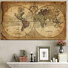 Tableau de la carte du monde rétro, Art ancien,