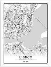 Tableau Déco Toile,Portugal Lisbonne Noir Blanc