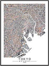 Tableau Déco Toile,Tokyo Japon Ligne De Couleur