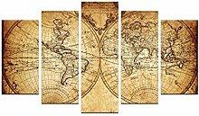 Tableau en bois mural 110 x 60 cm 5 pièces Carte