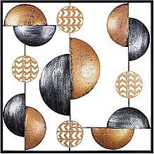 Tableau en métal 3D mural 55 x 55 cm Cercles de