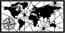 Tableau en métal mural 120 x 60 cm Carte du monde