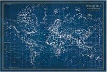 Tableau en verre - Map - L 120 cm x H 80 cm -