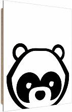 Tableau enfant bois contrast panda noir et blanc