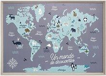 Tableau enfant carte du monde 50x70 cm