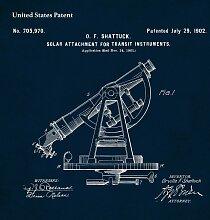 Tableau sur toile brevet téléscope 65x65cm