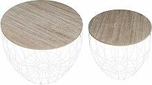 Tables Basses Rondes en Lot de 2 Table Basse