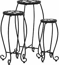 Tables mosaïque 3 pcs Noir et blanc Céramique