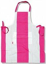 Tablier de cuisine rose et blanc - vêtement de