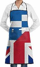 Tablier de cuisine unisexe avec poches et drapeau